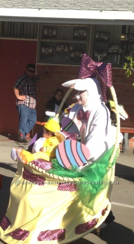 Homemade Mom and Baby Mobile Easter Basket Costume for Halloween