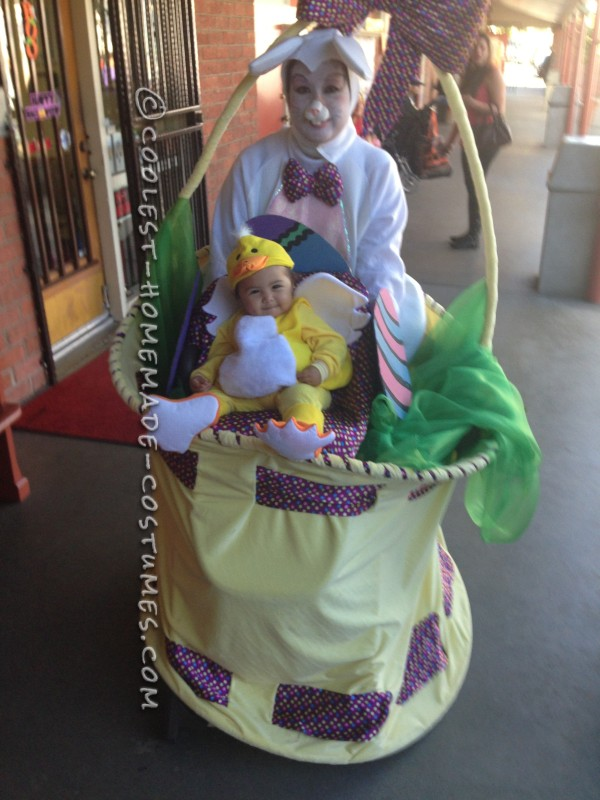 Homemade Mom and Baby Mobile Easter Basket Costume for Halloween