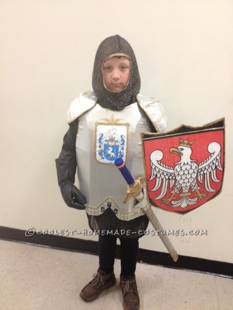 XIV Century Knight Costume: This XIV Century Knight costume is100% hand-made costume. I was making this costume all week for my 7 year old son Olek. This is costume a Polish kn