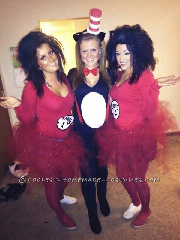Last Minute Sexy Girls Group Costume Thing 1 Thing 2 And Cat In