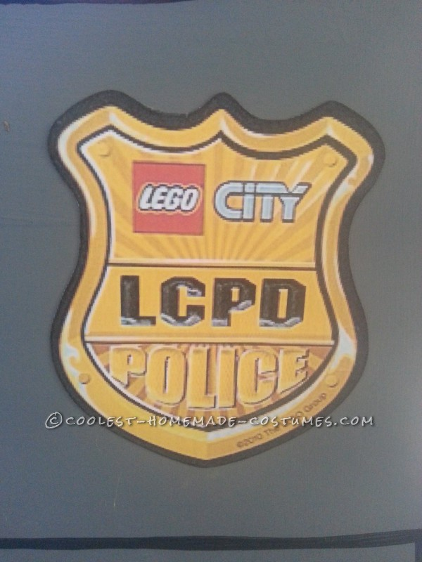 The LEGO City Police Badge was printed out, cut out, and glued to the front of the costume.