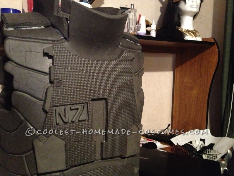 Carefully Carved out of foam the N7 Logo