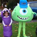 Cool Homemade Mike Wazowski Costume with Little Sister Boo