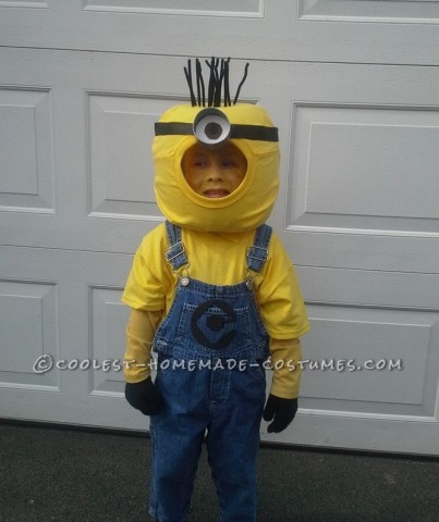 Homemade Minion Halloween Costume for a Boy