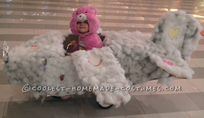 Cute DIY Toddler Costume: Care Bear Riding Her Very Own Cloud Plane