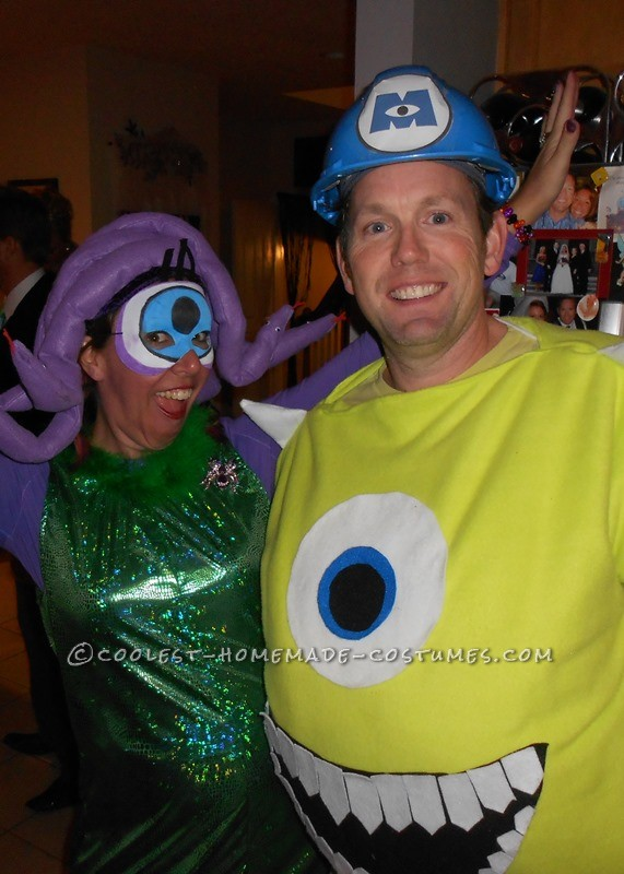 Coolest DIY Mike Wazowski and Celia Mae Costumes