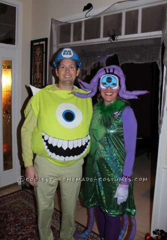 Coolest DIY Mike Wazowski and Celia Mae Costumes