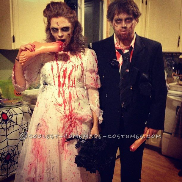 Creepy Bride and Groom Zombie Couple Costume: The Newly Deads