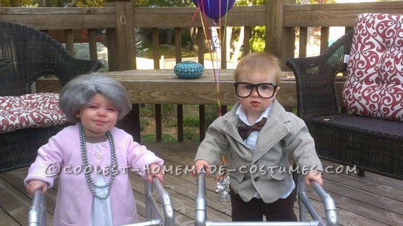 Funny DIY Toddler Couple Costume: Old Man from UP and His Old Lady - 1