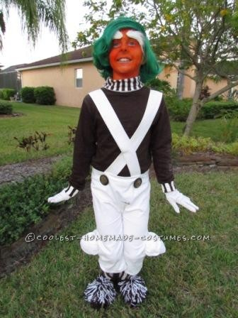 Cool Homemade Boy's Oompa Loompa Costume