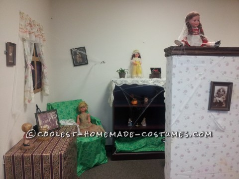 Creepy Doll Costumes in a Creepy Office Dollhouse