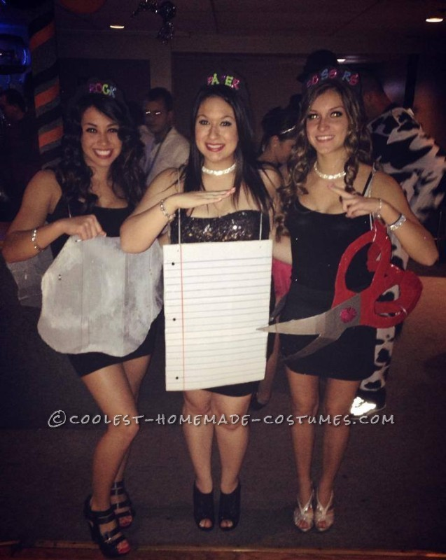 Cheap and Sexy Girl Group Costume: Rock, Paper and Scissors