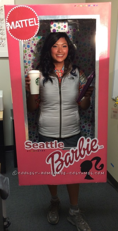 Homemade Seattle Barbie in a Box Halloween Costume