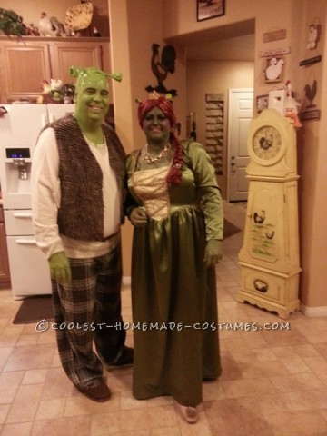 Cool Homemade Couple Costume: Shrek and Fiona Forever!
