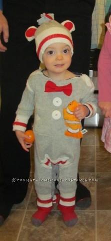 Coolest Homemade Sock Monkey Toddler Halloween Costume