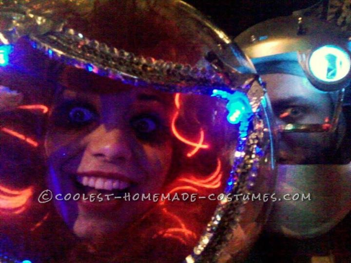Fashionable Space Visitors Couple Costume: For Halloween this year my boyfriend and I were visitors from space. We gallivanted through town and told people we were just visiting Earth for a sho