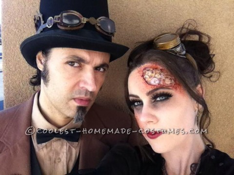 Awesome Steampunk Couple Costume: Steam-Powered Girl and her Creator