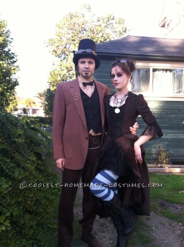 Awesome Steampunk Couple Costume: Steam-Powered Girl and her Creator - 1