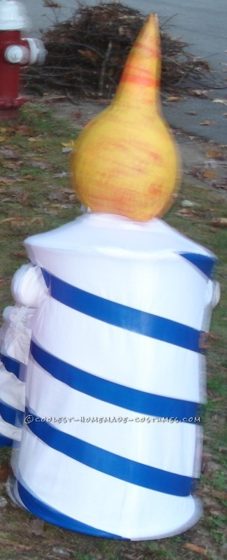Striped Birthday Candle Costume with Lighted Flame