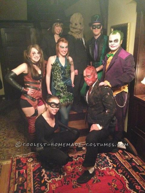 Top to bottom, left to right: The lady Penguin, the Scarecrow, the Riddler, Harley Quinn, Poison Ivy, the Joker, Catwoman, and Two Face