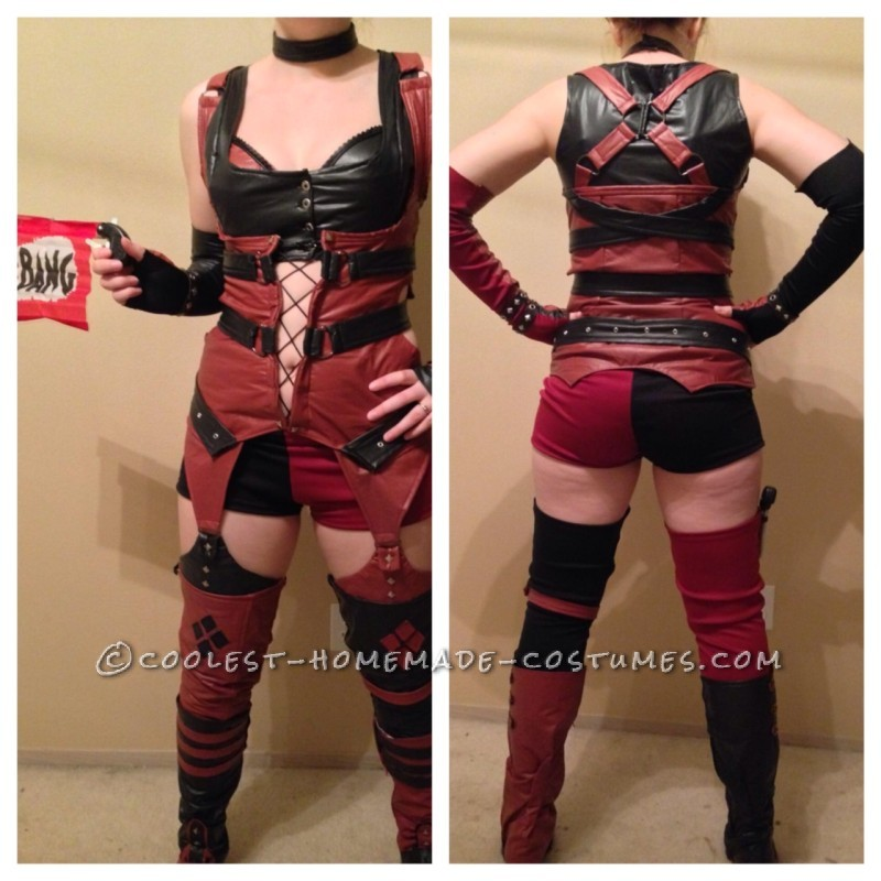 My Full costume as Harley Quinn, front and back with my awesome BANG gun!