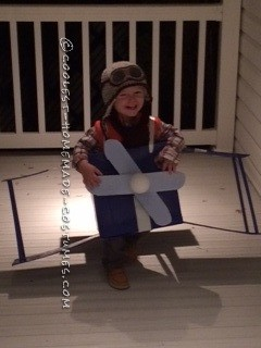Homemade Blue Baron Airplane Costume for a Toddler