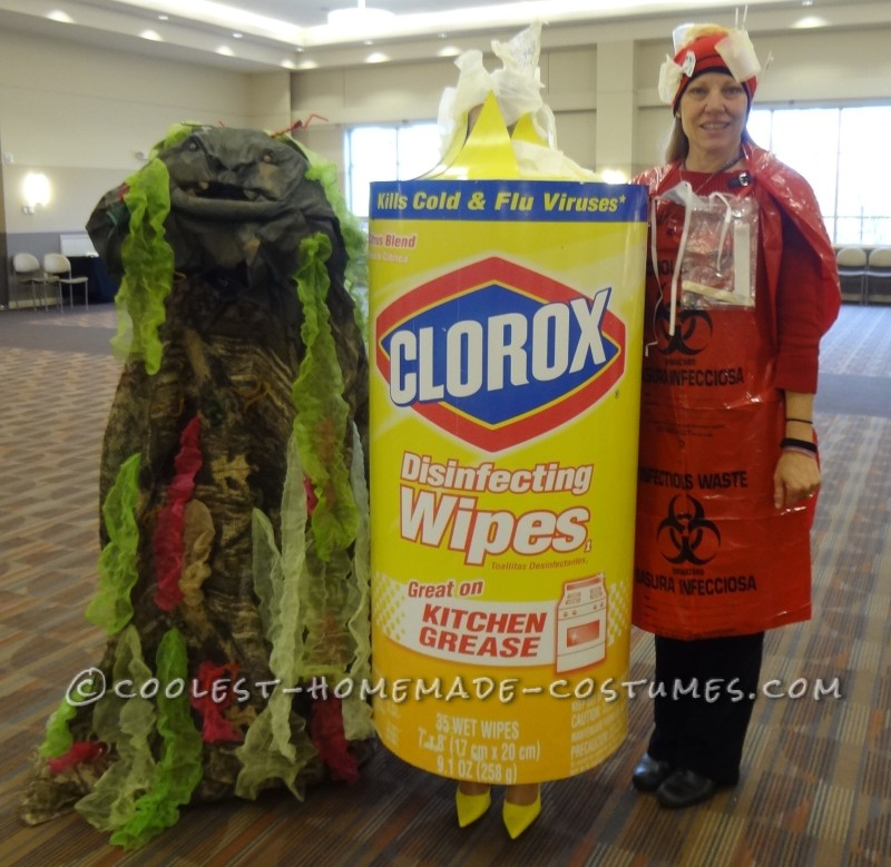 The Germ (Suzy) is on the left, the Disinfectant Wipes (Nikki) is in the middle and the Biohazard Waste (Wendy) is on the Right