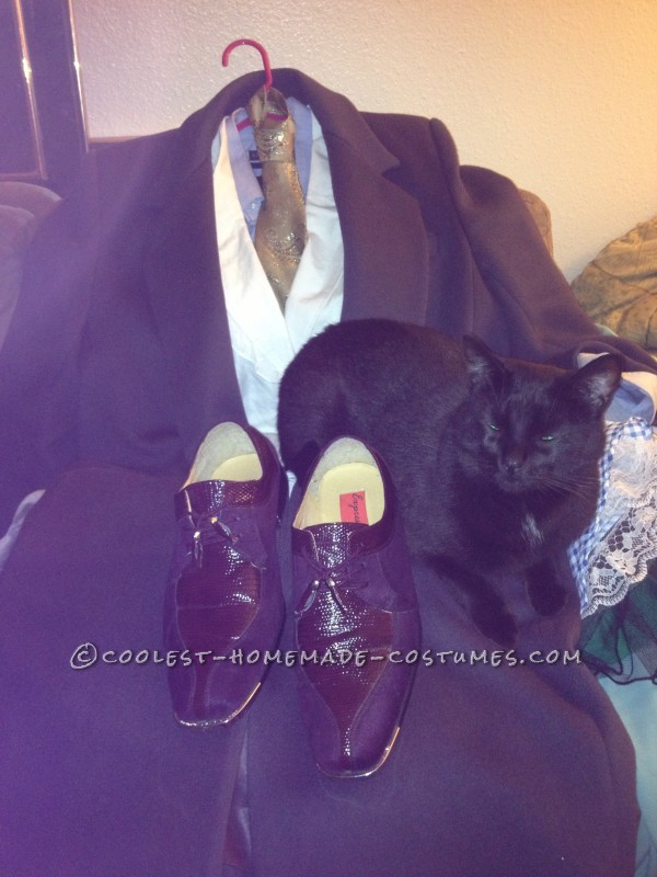 the shoes,, outfit before I changed it, and my cat