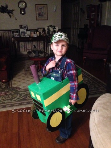 Cool Tractor Farmer Cardboard Box Costume