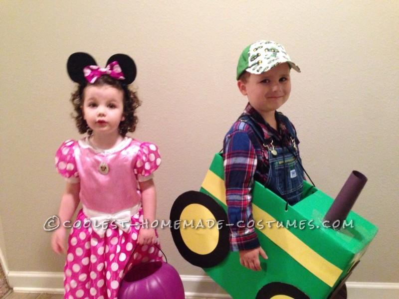 Cool Tractor Farmer Cardboard Box Costume - 1