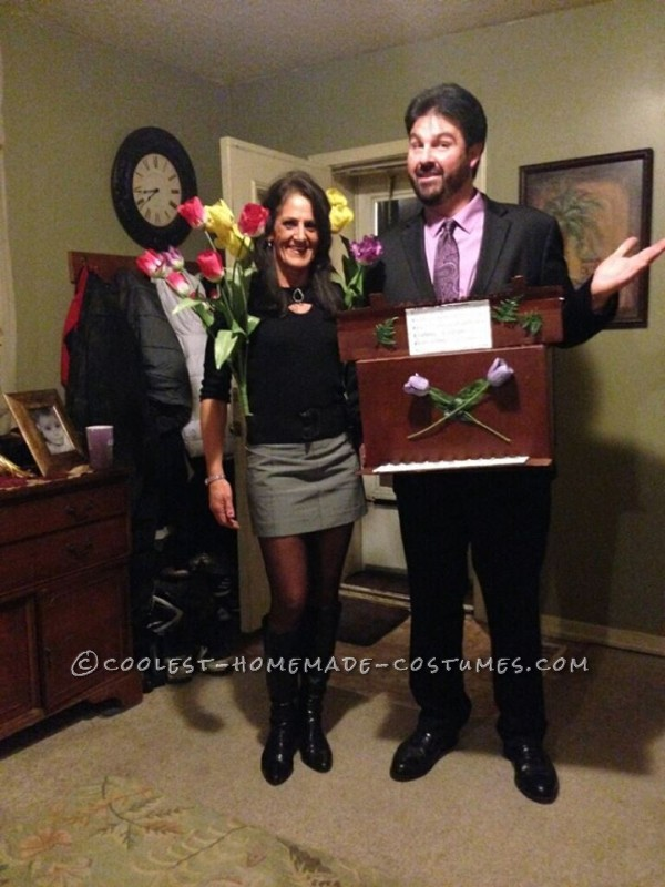 """Punny Halloween Couple Costume: """"Tulips on Your Organ"""": This Tulips on your organcostume was great and simple to make. It got many laughs and comments,very fun to watch peoples expressions when they put i"""