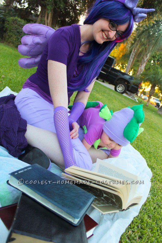 Twilight Sparkle and Spike the Dragon studying hard