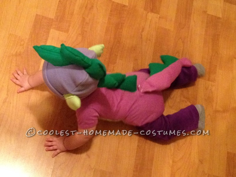 Back view of Baby Spike costume