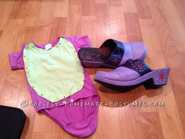 Spike onesie in progress and painted Twilight shoes