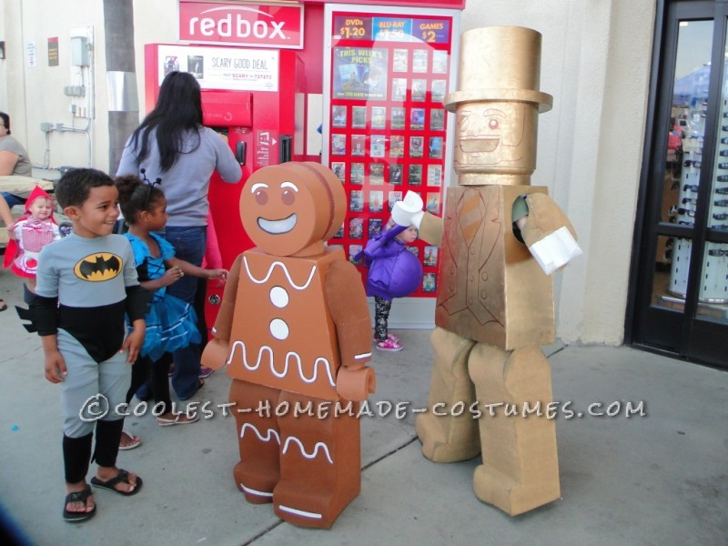 Lego Mr. Gold Minifigure and Lego Gingerbread Man Minifigure costumes