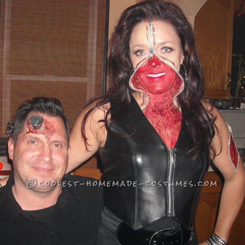 Bloody Zipper Face Makeup and Costume - 1