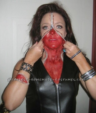 Bloody Zipper Face Makeup and Costume