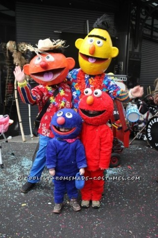 Sesame Street Costumes with Papier Mache Masks