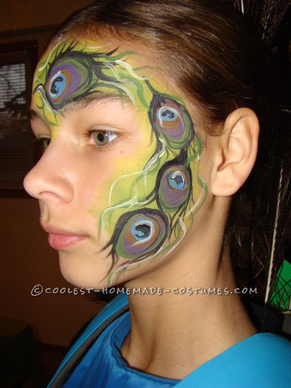 Coolest Girls' Peacock Costume and Face Paint - 2