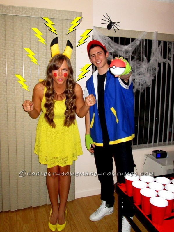 Cool Homemade Costume for Couples: Pikachu and Ash
