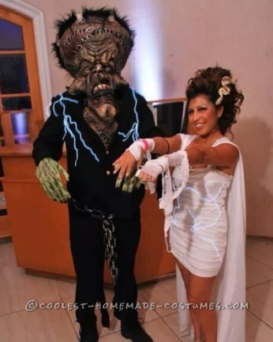 Cool Bride of Frankenstein and Frankenstein Couple Costume