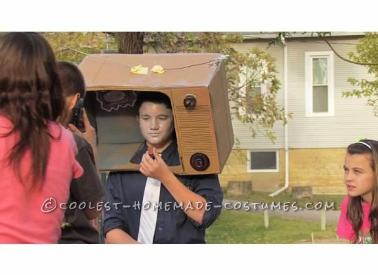 Original Last Minute Costume:  A Guy in a TV with a SPAM Advertisement - 2