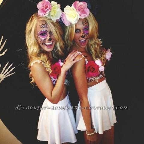 Sexy Sugar Skulls Cross Bone Blondes Costumes