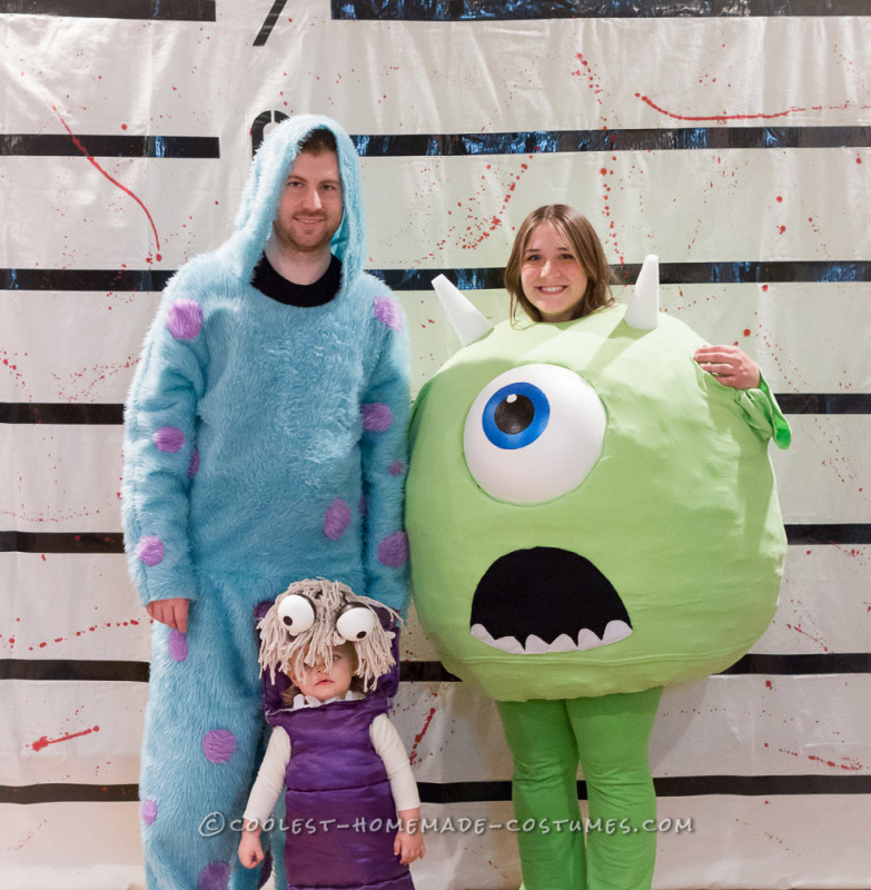 Coolest Homemade Mike Wazowski, Sully, and Boo Family Costumes