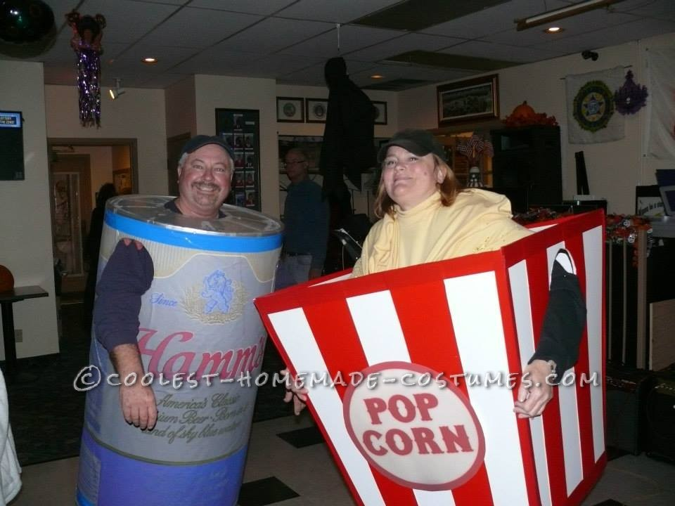 Award-Winning Beer Can and Popcorn Box Couple Costume
