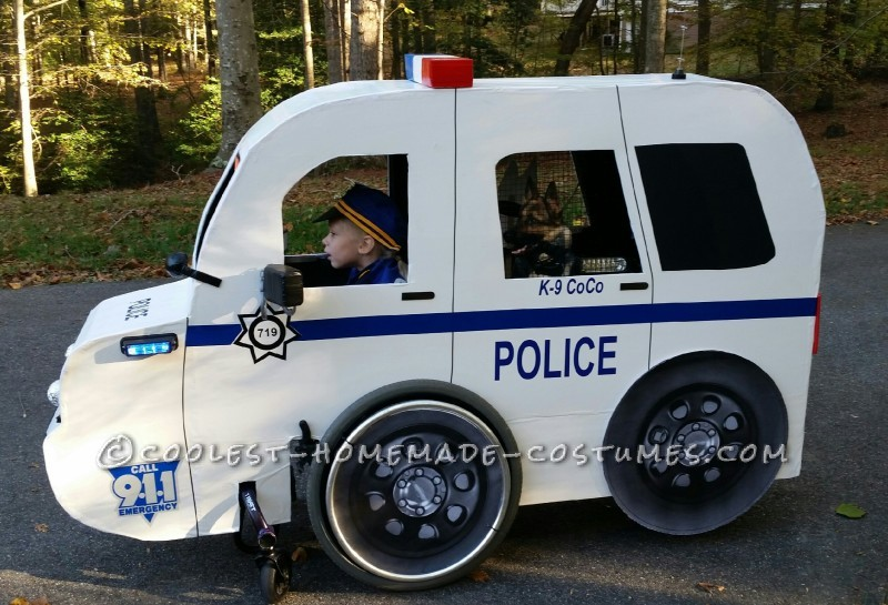 Carly's Cop Car Wheelchair Costume - 4