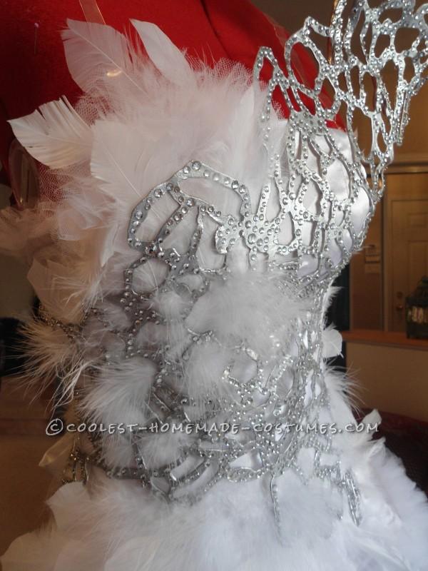 Coseup of wedding dress bodice