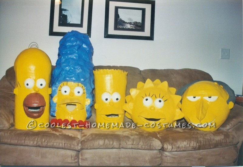 Coolest Paper Mache Simpsons Family Costumes