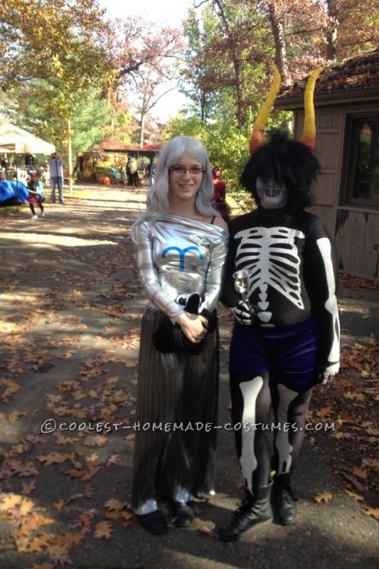 My apologies, this is the only good picture i have of my full costume. This is me with another girl dressed up as a character from Homestuck.