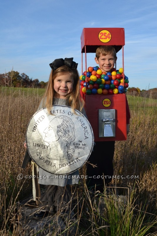 Cool Duo Costume:  A Gumball Machine and a Quarter